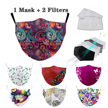 Washable Reusable Mouth Mask Flower Face Mask Aztec Printed Masks Fabric Adult Protective PM 2.5 Dust Anti Mouth Cover Face mask image