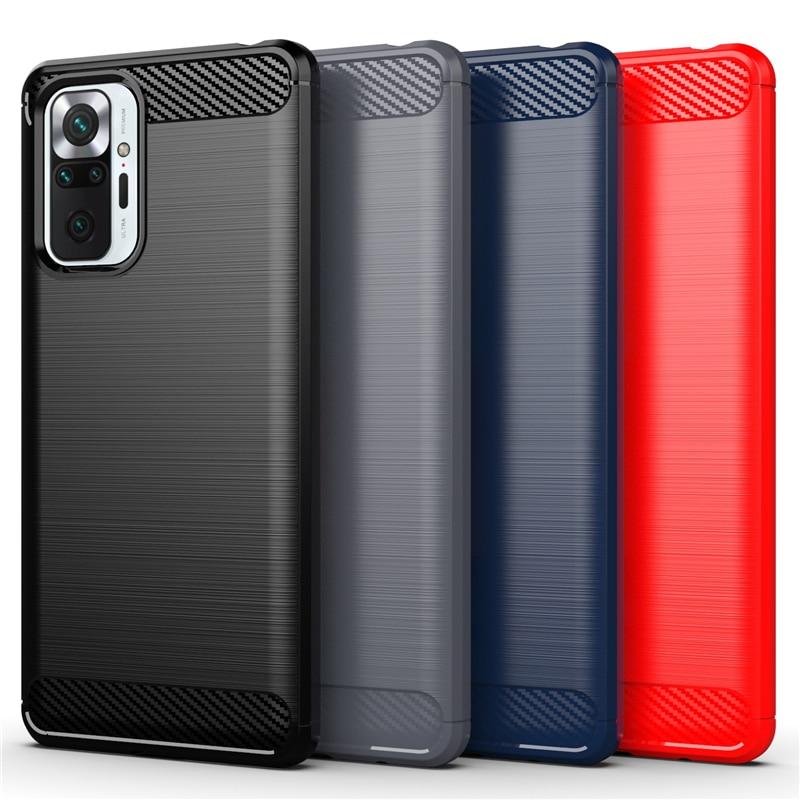 Funda de goma suave de TPU para Xiaomi Redmi Note 10 Pro, carcasa antigolpes de fibra de carbono, 9T, 8T, 9S, 10T Pro, 11 Lite 1