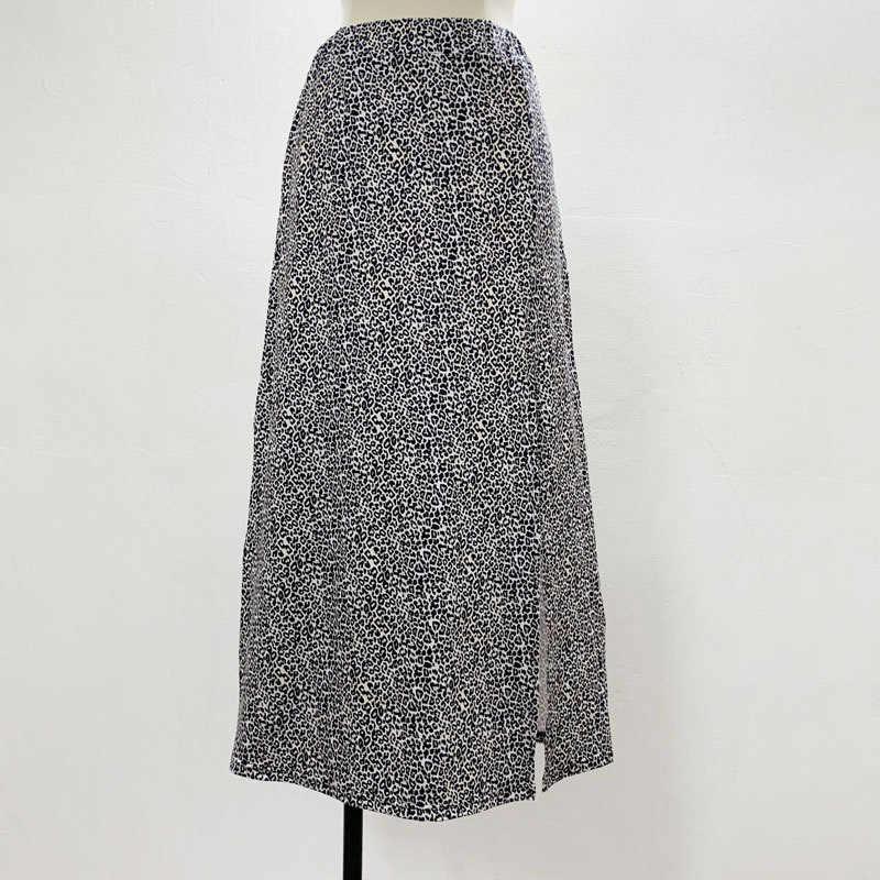 הדפס מנומר צד פיצול נשים של midi חצאית קיץ Streetwear גבוהה מותן חצאיות נקבה 2020 סקסי אופנה אונליין גבירותיי Bottoms