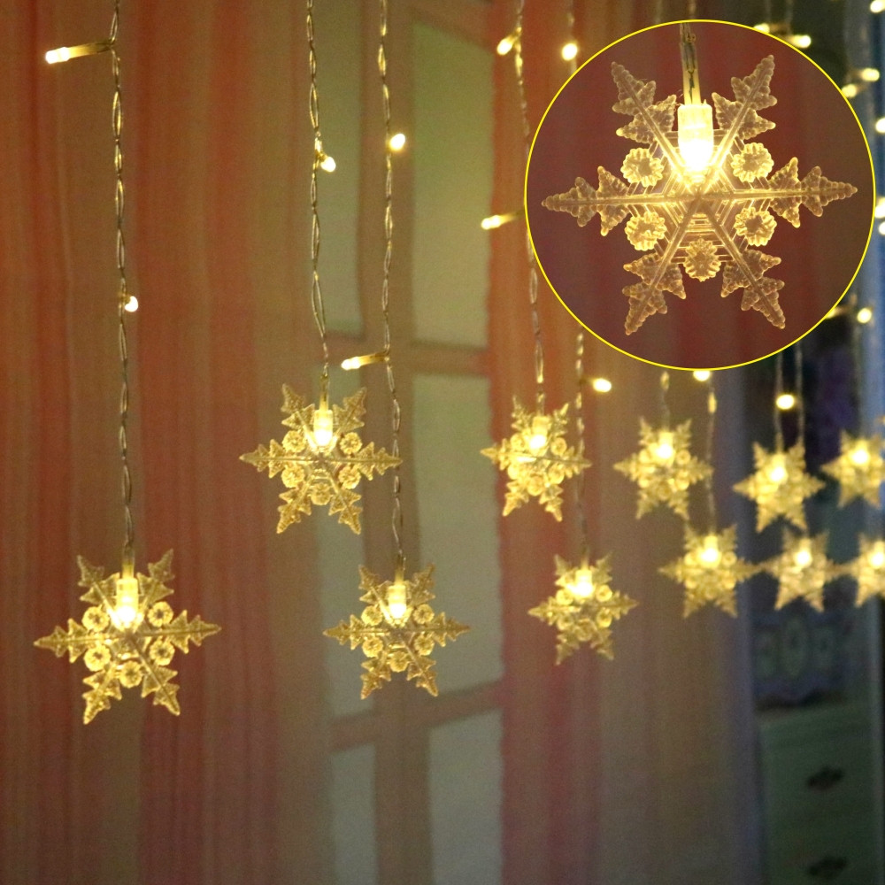 cheapest Colorful Snowflake LED String Lights Christmas Curtain Lights Flashing Lights Waterproof Outdoor Holiday Party Fairy Lights
