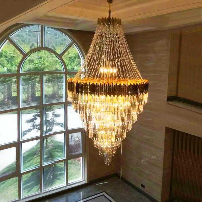 Large Crystal Chandelier In Duplex Building Luxury Hotel Lobby Engineering Villa Living Room Hollow Chandelier