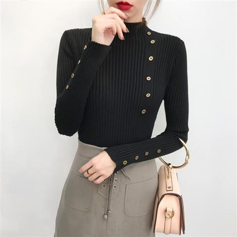 Women Elegant New Style Fashion Design Neck Long Sleeve Knit Sweater Turtleneck Sweater Bottoming Shirt Slim Long-Sleeved
