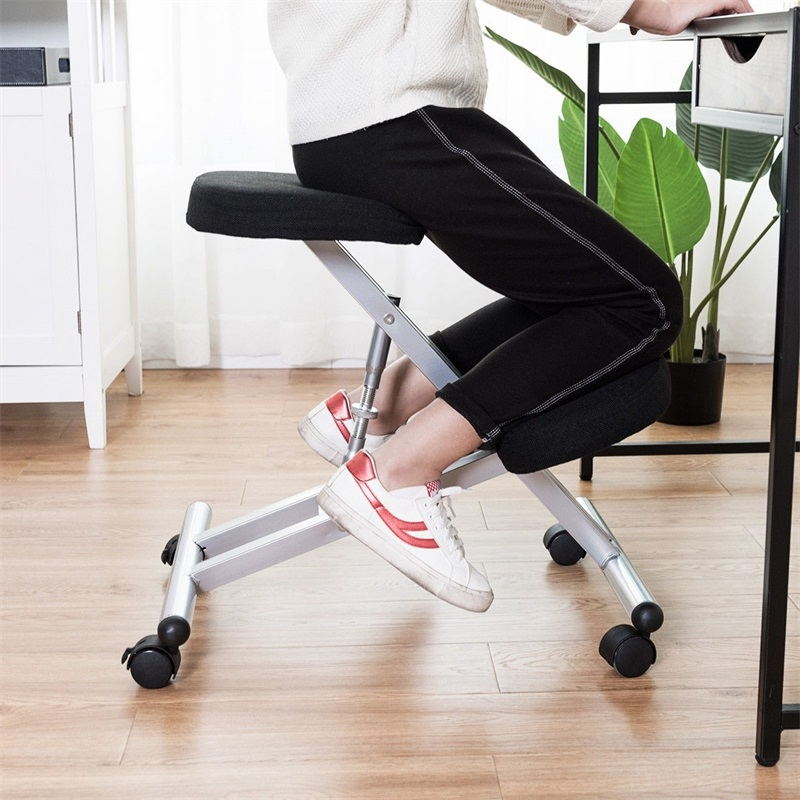 Costway Adjustable Height Ergonomic Kneeling Chair Rolling Padded Seat Office Chair Desk Chair Sillas Office Furniture HW60318