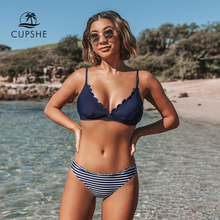 CUPSHE Cute Navy Blue Scalloped and Stripe Bikini Sets 2020 Women Solid Mid  waist Two Pieces Beach Bathing Suits Swimwear