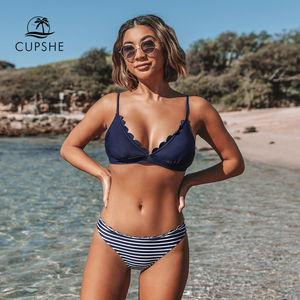 Image 1 - CUPSHE Cute Navy Blue Scalloped and Stripe Bikini Sets 2020 Women Solid Mid  waist Two Pieces Beach Bathing Suits Swimwear