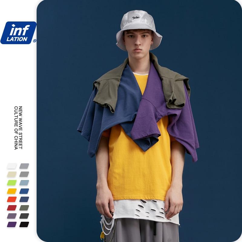 INFLATION Unisex Regular Hip Hop Men Tshirt Summer Solid Men Casual T-shirt Short Sleeve Cotton Hip Hop Streetwear Tshirt 8193S