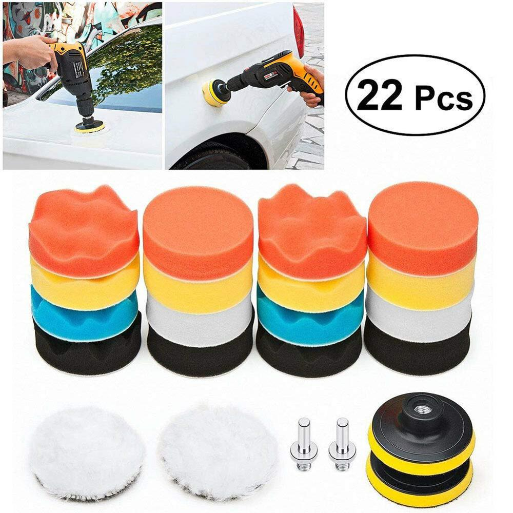 22Pc Buffing Pad Set Thread 3 Inch Sponge Woolen Car Polishing Pad Kit For Car Polisher Drill Adaptor M10 Power Tool Accessories
