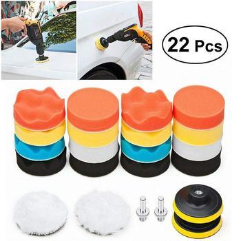 цена на 22Pc Buffing Pad Set Thread 3 inch Sponge Woolen Car Polishing pad Kit for Car Polisher Drill Adaptor M10 Power Tool accessories