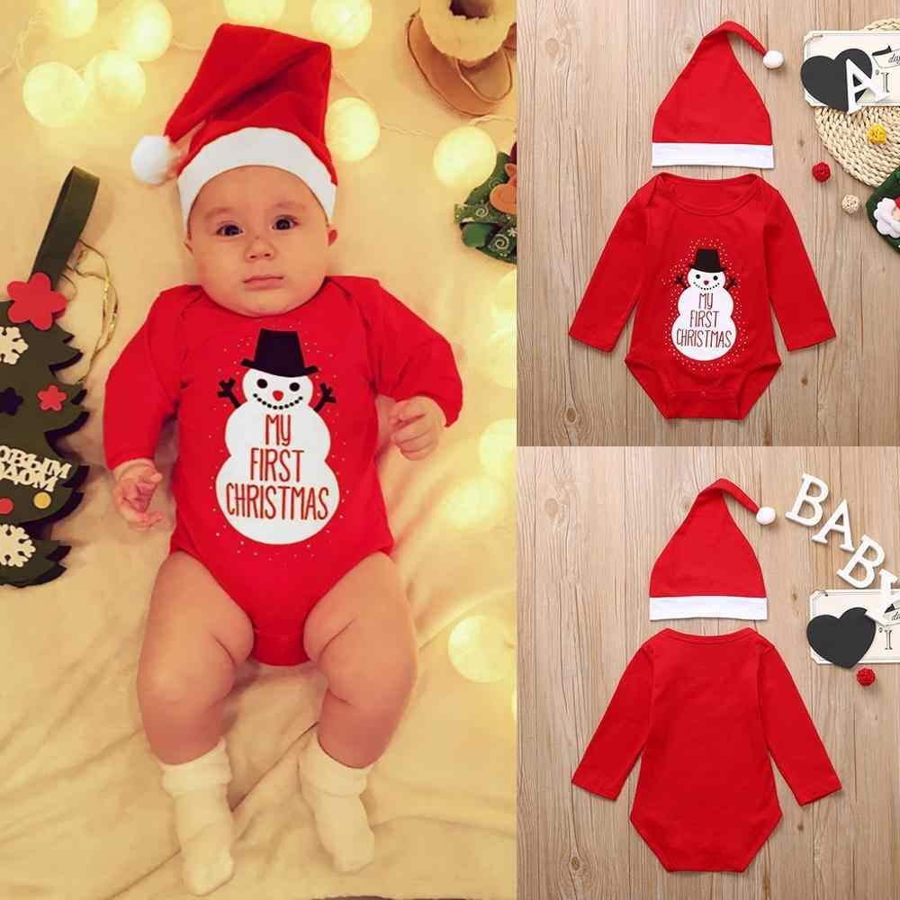New fashion 2PCS Christmas Toddler Baby Cartoon Snowman Letter Print Romper+Hat Set Outfits (6-24 Months) &xs