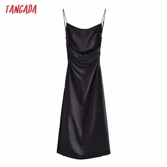 Tangada Women's Party Dress Fashion Black Pleated Dresses Backless Female Long Dress 3H793 6