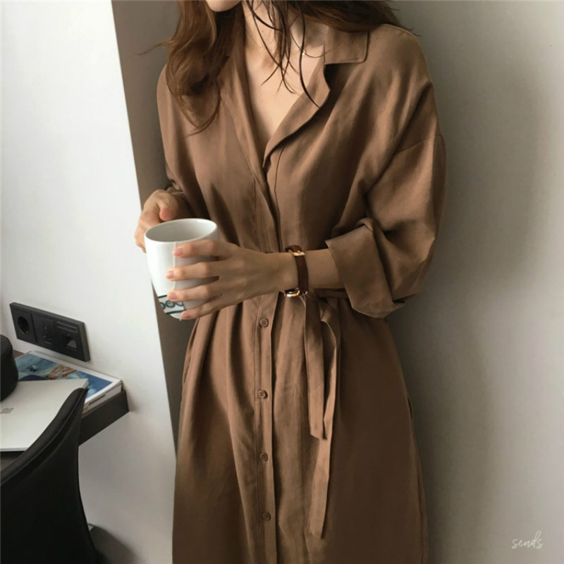 2020 Spring Autumn New Fashion Female Batwing Sleeve Vintage Solid Shirt Dress Women Casual Loose Wrap Dress Oversize
