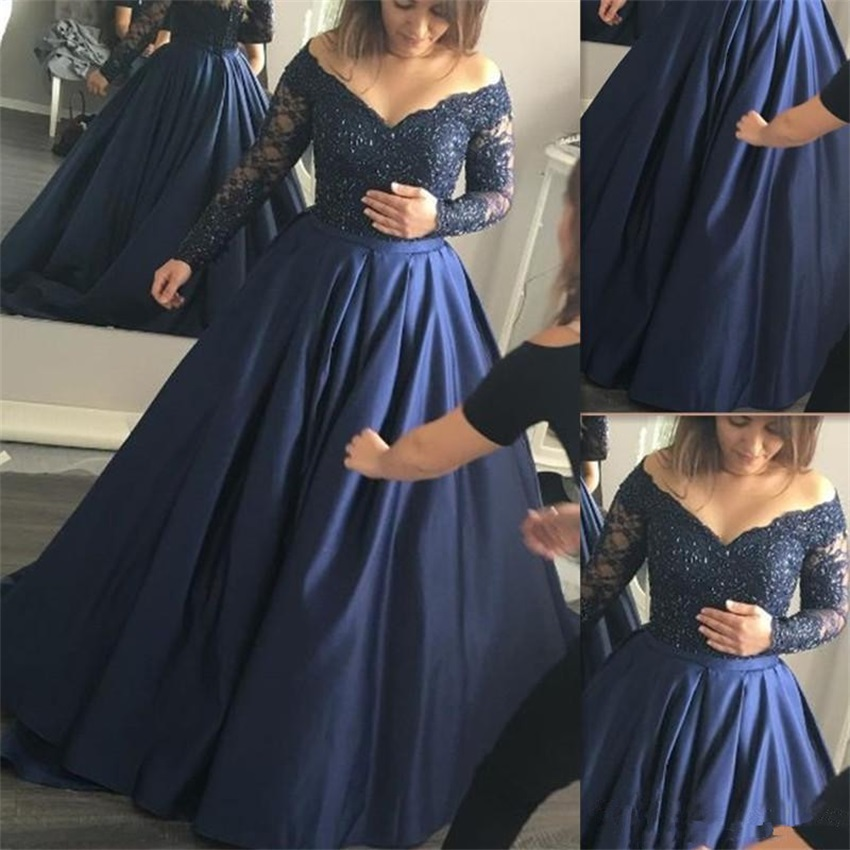 Custom Made Plus Size 2020 Prom Dresses Navy Blue Satin Lace Off The Shoulder Long Sleeves Formal Evening Dress Party Gowns