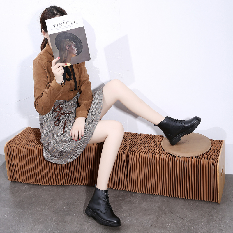 2020 Chunky Motorcycle Ankle Boots for Women Fashion Autumn Winter Round Toe Shoes Lace-up Combat Platform Boots Ladies Shoes