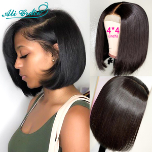 Ali Grace Wigs Short Blunt Bob Wigs 8-14inch Human Hair 4x4 Lace Closure Wigs for Women Pre Plucked Hairline with Baby Hair 180%(China)
