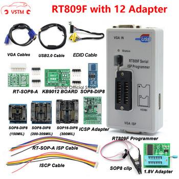 Oryginalny programator RT809F + 12 adapterów + sop8 zacisk IC + CD + 1 8V SOP8 Adapter VGA LCD ISP programator adapter uniwersalny programator tanie i dobre opinie VSTM CN (pochodzenie) RT809F with 11Adapters 1inch plastic Testery elektryczne i przewody pomiarowe 0 3kg