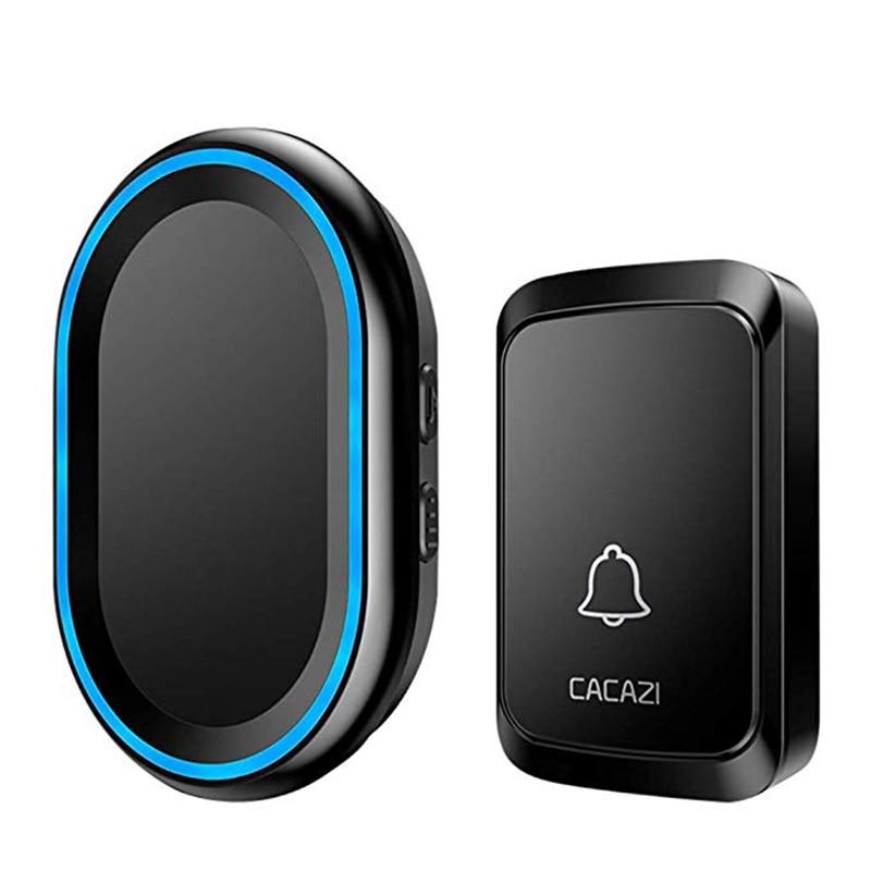ABKT-CACAZI Wireless Doorbell Led Night Light Home Wireless 300M Remote Waterproof Bell Muti-Ringtones EU Plug