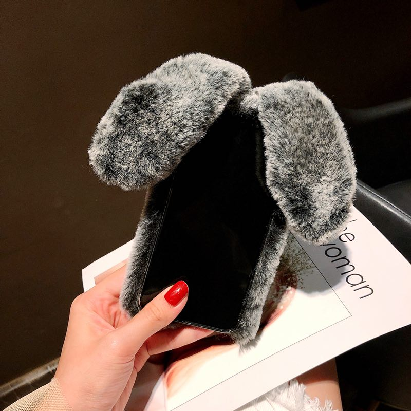 Plush Warm Phone Case for iPhone XS Max XR X 11 Pro Max Rabbit Ears Furry fluffy Fur Cover for iPhone 6 6S 7 8 Plus Cases