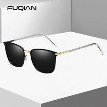 Мужские прямоугольные солнцезащитные очки fuqian винтажные поляризационные
