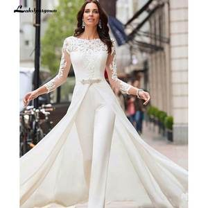 Pants Jumpsuits Wedding-Dresses Bridal-Gowns Overskirts-Beads Crystals Satin Long-Sleeve