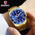 Reloj de lujo de marca superior de oro para hombre reloj de vestir de negocios de color azul único para hombre, reloj impermeable con puntero luminoso y minimalismo