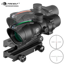 Fire Wolf  4X32 Tactical Rifle Scope Real Fiber Optics Green Red Dot Illuminated Etched Reticle hunting Optical Vision Rifle