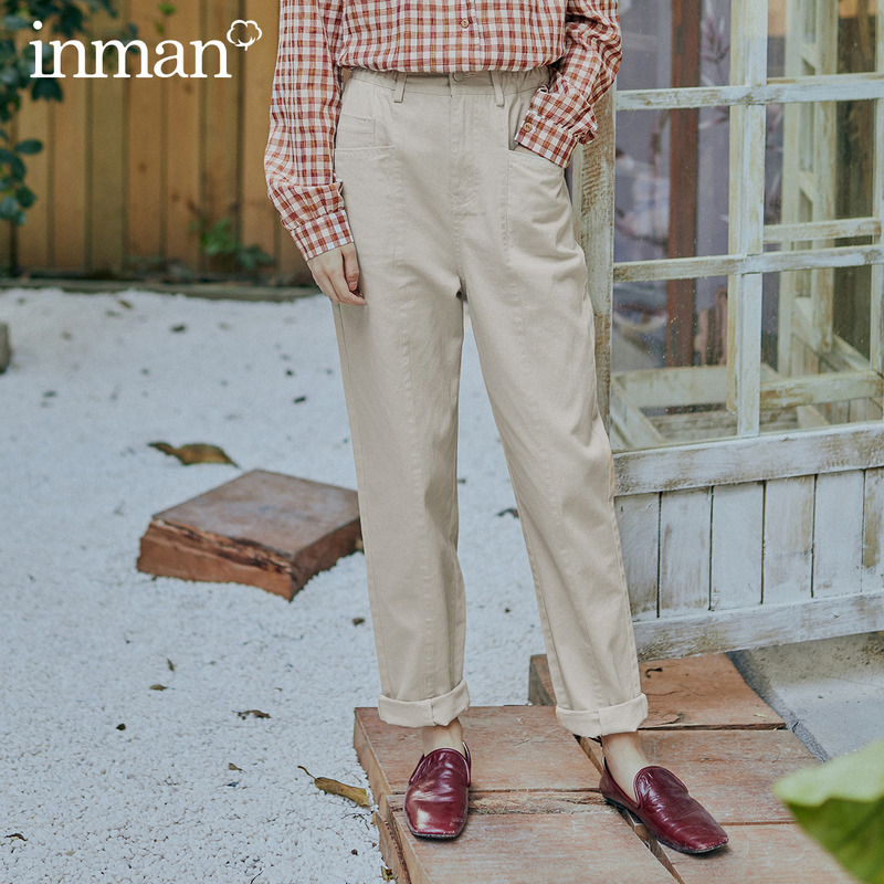 INMAN 2020 Spring New Arrival Literary Retro Concise Style Medium Waist Front Pockets Slimmed Long Trouser