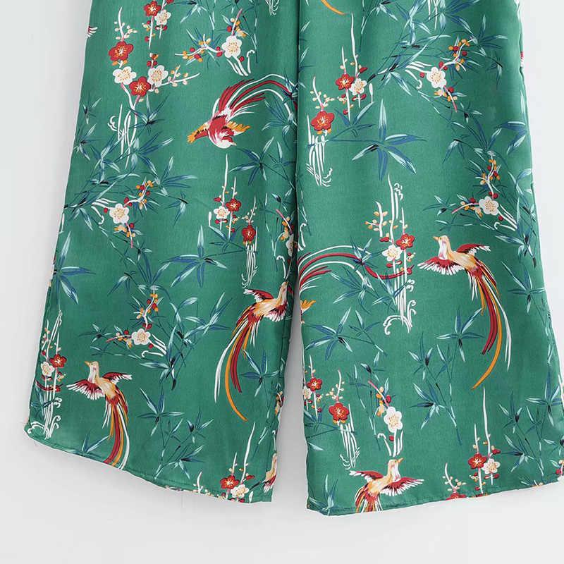 Kobiety lato kwiatowy kombinezon z nadrukiem styl Boho muszka szerokie nogawki Playsuits Romper Ladies 2020 Sexy V-neck wakacyjne kombinezony plażowe