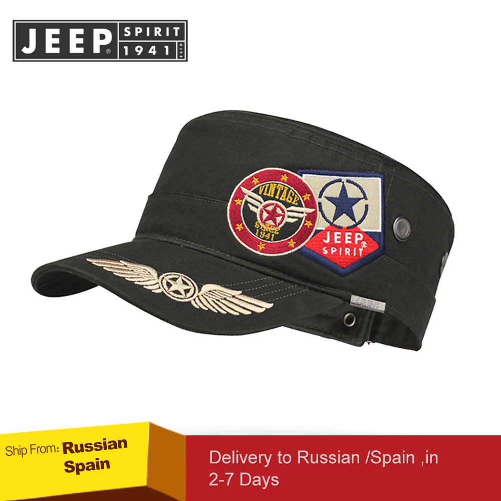 Image 2 - JEEP SPIRIT Brand New 2019 Fashion Flat Roof Military Hats Casual Sun Shade Bush Hat Baseball Field Cap For Men Women Gorras-in Men's Baseball Caps from Apparel Accessories on AliExpress