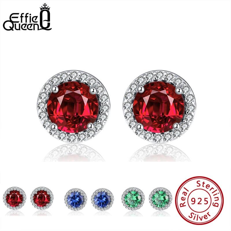 Effie Queen Women Silver 925 Small Stud Earring Multi Color Stone with AAAA Zircon Earrings Jewelry Party Wedding Gift BE250