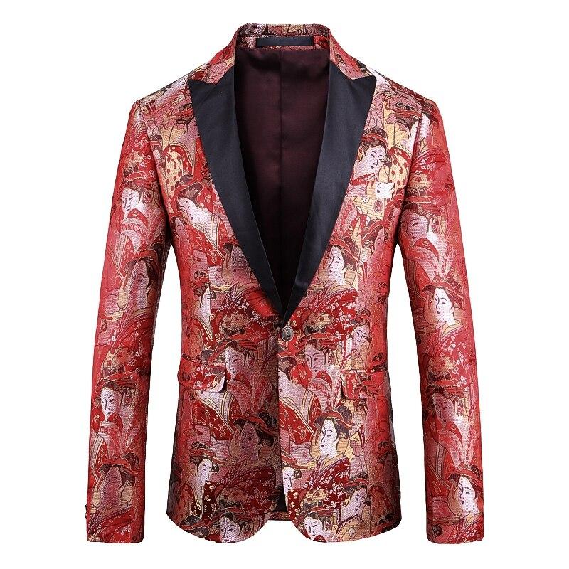 New Autumn/winter 2019 European American Men's Wear Long-sleeved Vintage Portrait Of A Lady  Jacquard  Fashionable Suit Jacket