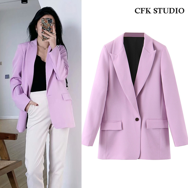 Za  Women Blazer With Single Button Pocket Solid Long Sleeve Casual Loose Outwear Violet Coat