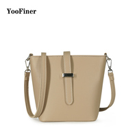 Solid color handbag 2019new fashion simple ladies shoulder bucket bag Messenger bag pu simple generous female bag four colors