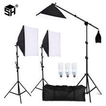 Profesyonel Fotoğrafçılık Aydınlatma Ekipmanları Kiti Softbox Yumuşak arka plan ile standı ile boom kol Arka Planında Işık Fotoğraf Stüdyosu