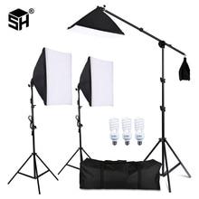 מקצועי צילום תאורת ציוד ערכת עם Softbox רך רקע stand עם בום זרוע תפאורות אור צילום סטודיו