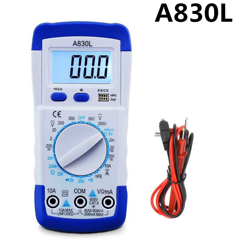 Urijk A830L LCD Digital Multimeter Portable DC AC Voltage Diode Freguency Multitester Handheld Volt Tester Test Current Ohmmeter