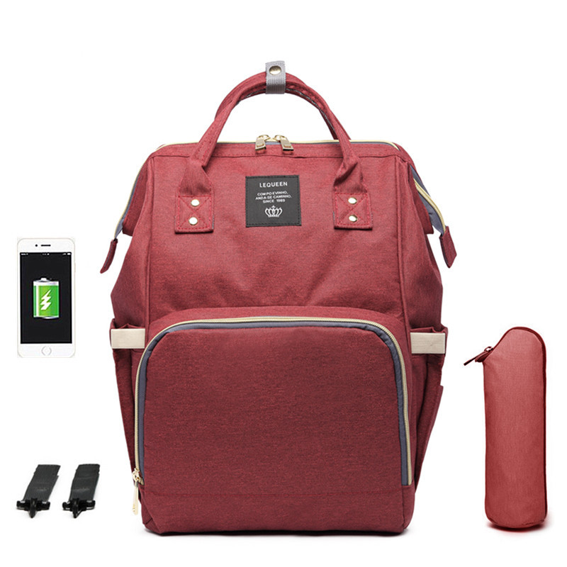 USB Diaper Bag Backpack for Mom Mummy Maternity Wet Bag Waterproof Stroller Organizer Bag Outdoor Baby Care Bags LEQUEEN