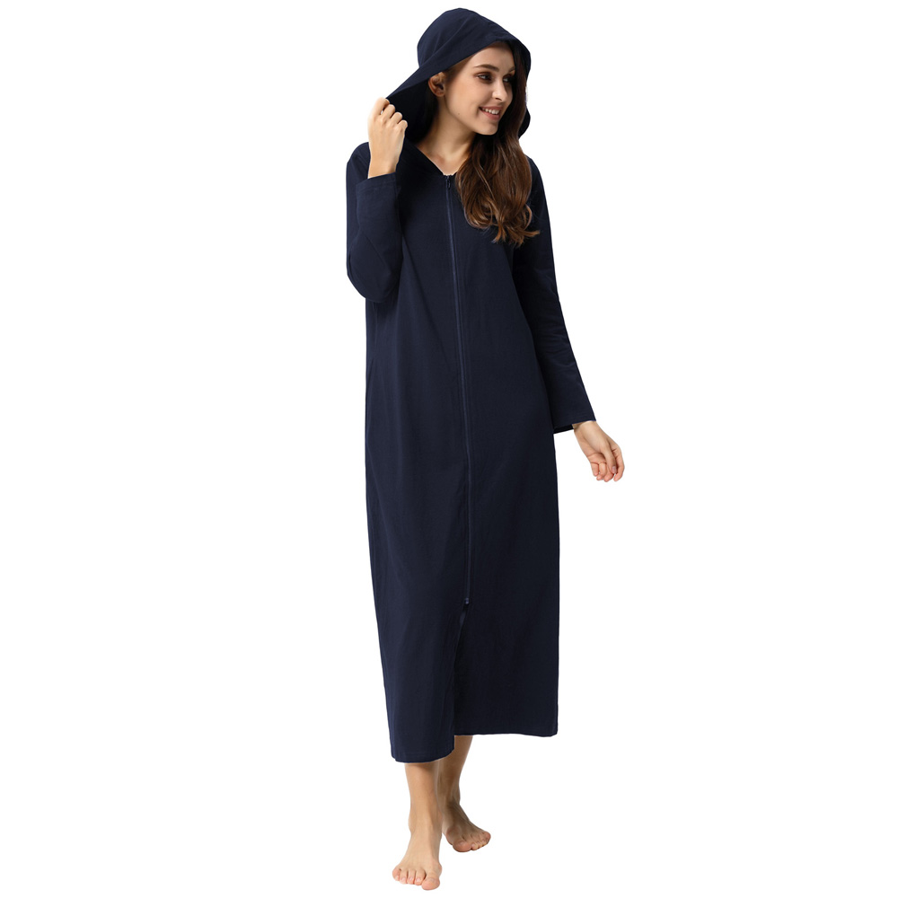 Zexxxy Women's Comfy Long Sleeve Zipper Robe Conjoined Home Service Full Length Zip Front Long Hoodies Hooded Robe Bathrobe