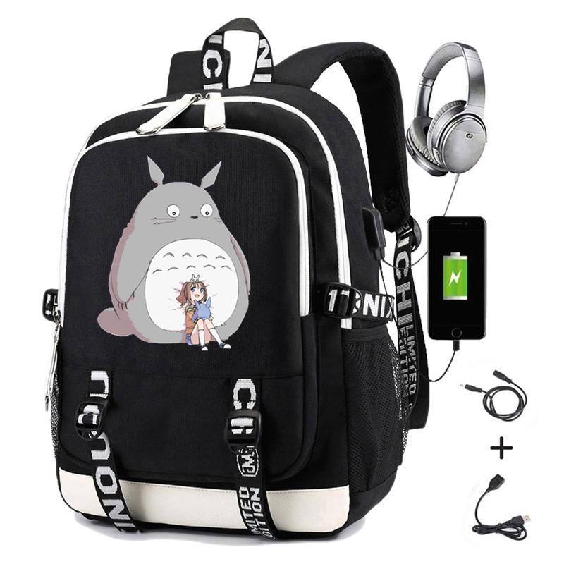 Totoro Backpack Laptop School-Bags Anime Japan Student Girls Casual Usb-Charging Printing
