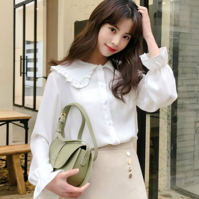 Shirts Women Solid Simple New Arrival Spring Korean Style Chic Trendy Casual Blouses Elegant Vintage Womens Streetwear All-match 4