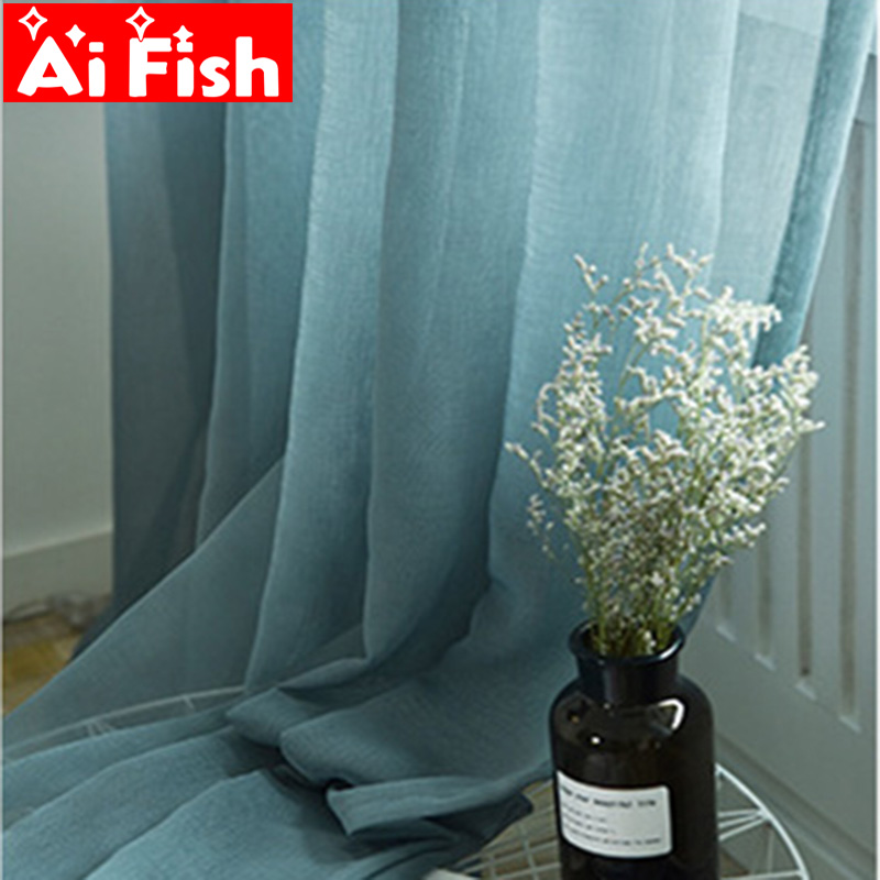 Modern Minimalist Solid Linen Fabrics Sheer Curtains For Living Room Tulle Yarn Panel Window Treatment Kitchen Curtain MY101#40