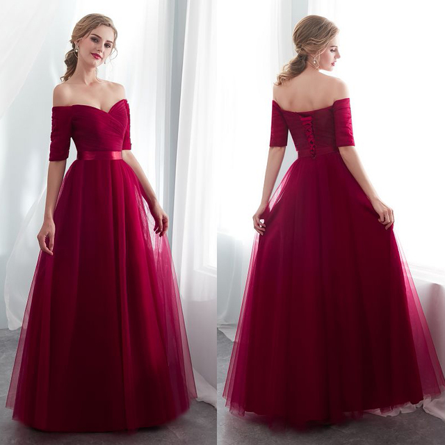 2020 Hot Purple Elegant Bridesmaid Dresses Satin Tulle A Line Royal Blue Half Sleeve Wedding Party Gowns Prom Dresses For Women
