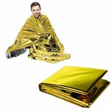 50 шт. Открытый водонепроницаемый аварийного выживания фольги тепловой первой помощи спасательное Одеяло Палатка серебро золото