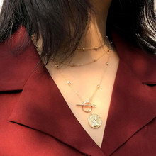 Vintage Gold\Sliver Round Necklaces Coin Necklaces For Women Girl Long Coin Pendant & Necklace Female Fashion Jewelry Gift(China)