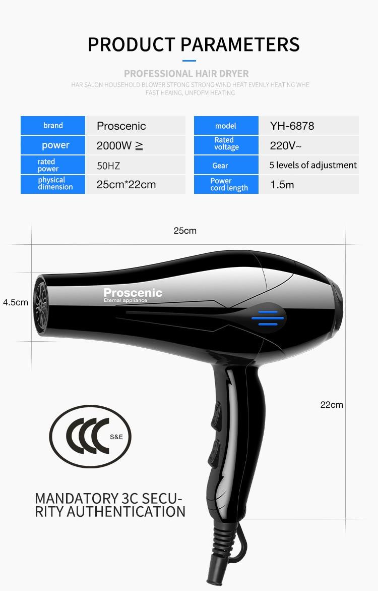 2200w secador de cabelo profissional 240vstrong power