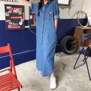 Letnie damskie niebieskie sukienki dżinsowe niebieskie Casual Vintage pojedyncze piersi puchowe kieszenie z kołnierzykiem luźna długa sukienka w027