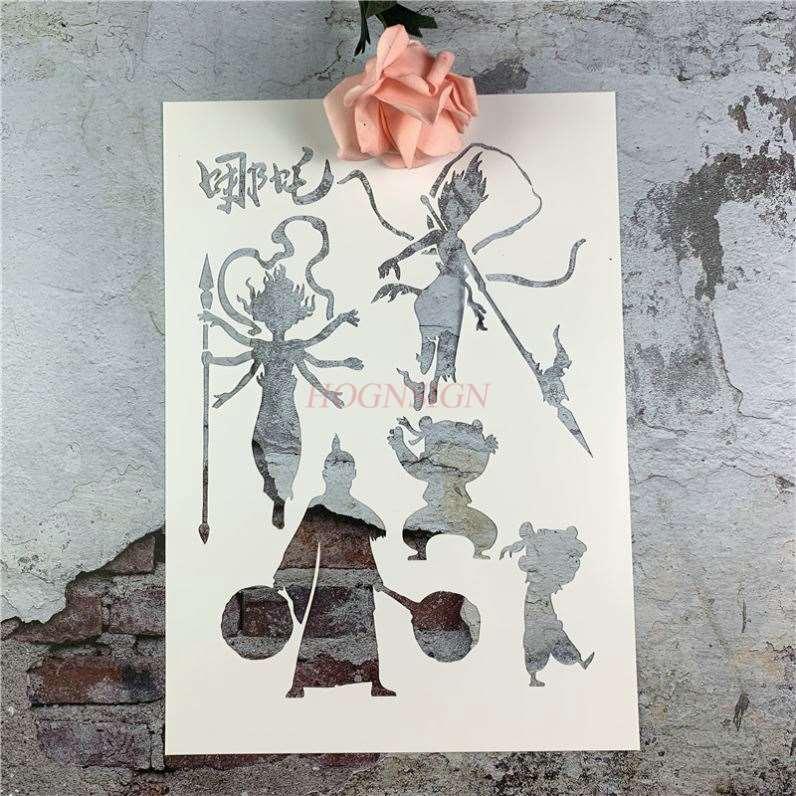 Nezha Hollow Template Hand Painting Painting Nezha Boy Birth Template Beginner Template Artifact Masking Board