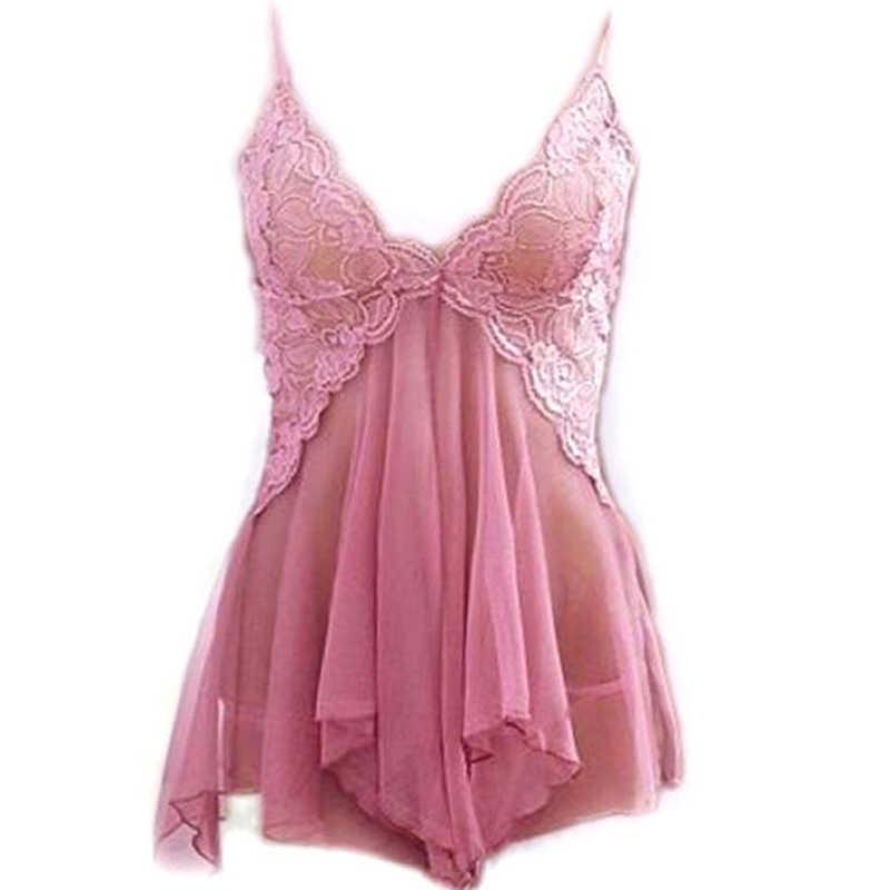 Frauen Sexy Dessous Spitze Rosa V-ausschnitt Dessous Heiße Erotische Kleid Babydoll Nachtwäsche + G-string Sexy Unterwäsche