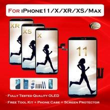ЖК-дисплей для iPhone X 11 XR XS MAX, сменный OLED-дисплей с 3D сенсорным экраном, True Tone, без битых пикселей, с чехлом