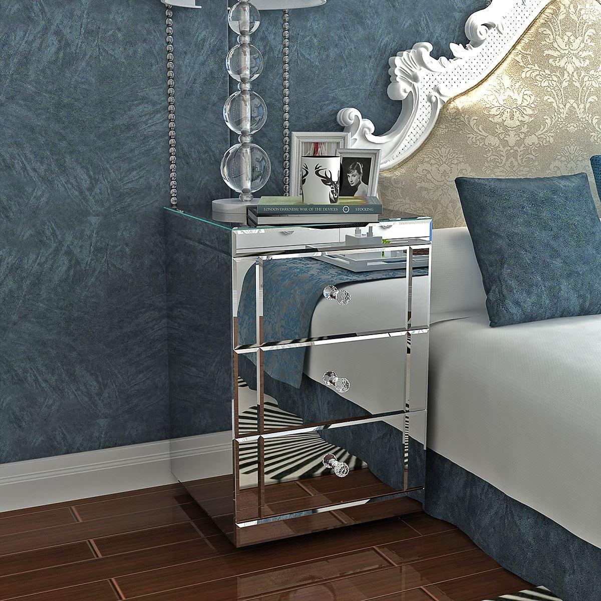 خزانة جانبية بمرآة/منضدة بجانب السرير/خزانة ذات 3 أدراج لمنضدة غرفة النوم