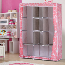 New Fully-Closed Portable Non-woven Fabric Cover Clothes Storage Closet Quilts Organizer Wardrobe with Metal Shelves